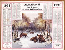 CALENDRIER ALMANACH D' EPOQUE Année 1925 Format 21 X 26 Complet Sanglier Boar Carte De La Haute Garonne 31 - Calendars