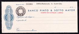 Bank Check/ Chèque Bancaire - BANCO PINTO & SOTTO MAYOR - Campo De Ourique, Lisboa, Portugal - Cheques & Traveler's Cheques