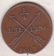 Sweden. 1/4 Skilling 1827. Carl XIV Johan (Bernadotte) KM# 595 - Suède
