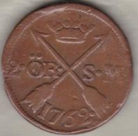 Sweden. 2 Öre 1762 . Adolf Frederick. KM# 461 - Suède