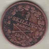 Sweden. 2/3 Skilling Banco 1843. Carl XIV Johan (Bernadotte) KM# 641 - Suède