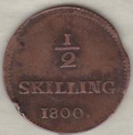 Sweden. 1/2 Skilling 1800 . Adolf Frederick. KM# 549 - Suède