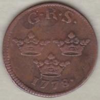Sweden. 1 Öre 1778. Gustaf III .KM# 437 - Suède