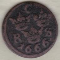 Sweden 1/6 Öre 1666 Sm .Carl XI . KM# 254 - Suède