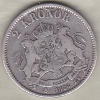 Sweden . 2 Kronor 1876. Oscar II. Argent. KM# 742 - Suède