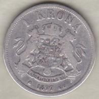 Sweden . 1 Krona 1877. Oscar II. Argent. KM# 747 - Suède