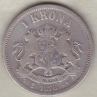 Sweden . 1 Krona 1876. Oscar II. Argent. KM# 741 - Suède