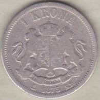 Sweden . 1 Krona 1875. Oscar II. Argent. KM# 741 - Suède