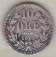 Sweden . 10 Öre 1871. Carl XV Adolf. Argent. KM# 710 - Suède
