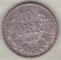 Sweden . 10 Öre 1874 . Oscar II . Argent . KM# 737 - Suède