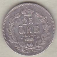 Sweden . 25 Öre 1865 . Carl XV Adolf . Argent. KM# 712 - Suède