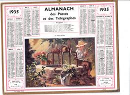 CALENDRIER ALMANACH D' EPOQUE Année 1935 Format 21 X 26 Complet Le Vieux Puits Carte De La Haute Garonne 31 - Calendars