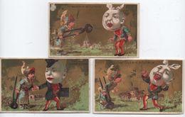 Lot De 3 Chromos à Fond Doré/Mal De Dent Et Paire De Tenaille/Chocolat Guérin-Boutron/PARIS/Vallet-Minot/Vers1890 IMA323 - Guerin Boutron