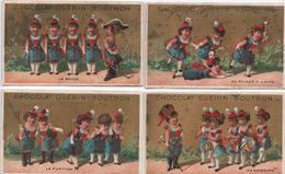 Lot De 4 Chromos à Fond Doré/Jeunes Femmes Soldats/Chocolat Guérin-Boutron/PARIS/Vallet-Minot/Vers1890 IMA324 - Guerin Boutron