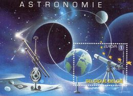 BELGIQUE / MONDIALE ASTRONOMIE Espace Superbe Blocs De 1 Valeurs Dentelés MNH  Vente 1.00 Euros - Space