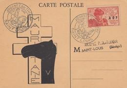 CARTE. JOURNEE DU TIMBRE 1945 AMICALE PHILATELIQUE DE ST LOUIS SENEGAL/ 3 - A.O.F. (1934-1959)