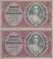 PAREJA CORRELATIVA DE AUSTRIA DE 5000 KRONEN DEL AÑO 1922 CALIDAD EBC (XF)  (BANK NOTE) (RARO) - Austria