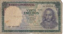 BILLETE DE PORTUGAL DE 20 ESCUDOS DEL AÑO 1960 (BANKNOTE) - Portugal