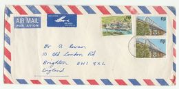1981 FIJI COVER Multi BRIDGE Stamps With AIRMAIL LABEL FLYING FISH  To GB - Fiji (1970-...)