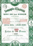 Compagnie  D'Électricité Du MIDI De La RUSSIE; Action De 100F - Russie