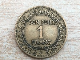 1927 1 Franc Coin - Very Fine, Uncleaned - France