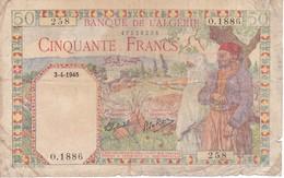 BILLETE DE ARGELIA DE 50 FRANCS DEL AÑO 1945 (BANKNOTE) - Argelia