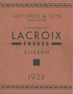 Voitures Et Lit D'enfants établissements LACROIX  Fréres CLISSON 1938 - Publicités