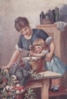 Cpa 2 Scans Tuck Oilette Stirring The Christmas Pudding 9444 Petite Fille Préparant Le Pudding De Noël - Tuck, Raphael