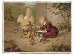 CHROMO - Enfant Et Sa Poupée - Poule Et Poussins - Format 12.5 X 9.5 Cm - Chromos
