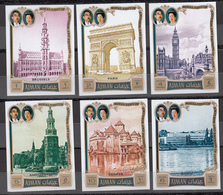 Ajman - 1971 -- M# 1040B‑1045B -- Visit Of The Japanese Emperor And Empress To Europe MNH Complete Imperf Set CV 10€ - Stamps