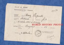Document Ancien D'identité - REIMS ( Marne ) - Septembre 1940 - Huguette RONEZ - Occupation - Commissariat De Police WW2 - Documents Historiques