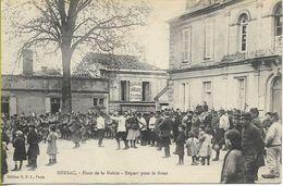 NERSAC  Place De La Mairie - Départ Pour Le Front  (Carte Envoyée Par Un Poilu,  Train Spécial Pour Les Vosges En 1916 ! - Francia