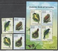 SRI LANKA, 2017, MNH,  BIRDS, 4v+SHEETLET - Birds