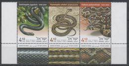ISRAEL , 2017, MNH, REPTILES, SNAKES,3v+ TAB - Snakes