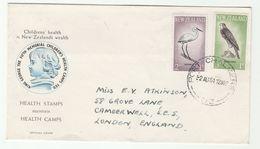 1961 Port Chalmers NEW ZEALAND FDC BIRDS  To GB Children Health Bird Falcon Egret - FDC