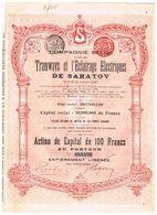 Action Ancienne - Compagnie Belge Pour Les Tramways Et L' Eclairage Electrique De Saratov - Titre De 1907 - - Ferrocarril & Tranvías