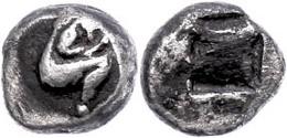 1 Lete, AR Trihemiobol (1,20g), 530-480 V. Chr., Av: Satyr R. Kauernd, Im Feld Kugel, Rev: Diagonal Geteiltes Quadratum  - Antique