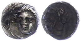 9 Tarsos, Obol (0,78g), 4. Jhd. V. Chr., Zeit Des Pharnabazos Und Datames. Av: Weiblicher Kopf Von Vorn. Rev: Bärtiger K - Antique