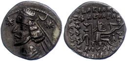 18 57-38 V. Chr., Drachme, Orodes II., Parthia. Av: Büste Nach Links. Rev: Bogenschütze Nach Rechts Sitzend. 3,88g, Sell - Antique