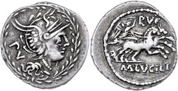 "19 Marcus Lucilius Rufus, Denar (3,82g), 101 V. Chr., Rom. Av: Romakopf Mit Flügelhelm Nach Rechts, Dahinter ""PV"". Rev:  - Roman"