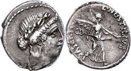 21 L. Hostilius Saserna, Denar (3,99g), 48 V. Chr., Rom. Av: Venuskopf Nach Rechts. Rev: Victoria Mit Caduceus Und Tropa - Roman