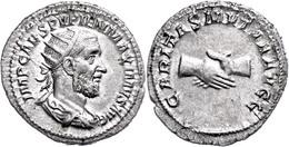 "22 Pupienus, 238, Antoninian (4,13g), Rom. Av: Büste Nach Rechts, Darum ""IMP CAES PVPIEN MAXIMVS AVG"". Rev: Zwei Hände I - Roman"