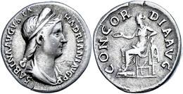 "23 Vabia Sabina, 128-136, Denar (3,33g), Rom. Av: Büste Nach Rechts, Darum ""SABINA AVGVSTA - HADRIANI AVG PP"". Rev: Thro - Roman"