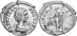 """26 Plautilla, 202, Denar (3,14g), Rom. Av: Büste Nach Rechts, Darum """"PLAVTILLA - AVGVSTA"""". Rev: Stehende Concordia Mit P - Roman"""