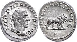 "33 Philippus I. Arabs, 248, Antoninian (4,41g), Rom. Av: Büste Nach Rechts, Darum ""IMP PHILIPPVS AVG"". Rev: Löwe Nach Re - Roman"