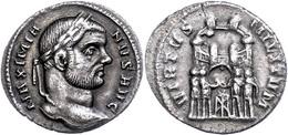 "39 Maximianus, 285-305, Argenteus (3,27g), Rom. Av: Kopf Nach Rechts, Darum ""MAXIMIA - NVS AVG"". Rev: Vier Opfernde Tetr - Roman"