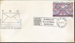 L) 1979 MEXICO, UNIVERSITY AUTONOMY, PAINTINGS, MURALS, NATIONAL UNIVERSITY, CULTURE, STUDENTS, SET OF 4, FDC - Mexico