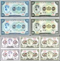 1137 Luxemburg, 4 X 5 Francs O.J. (1944), 4 X 10 Francs O.J. (1944), 2 X 100 Francs O.J. (1934), 2 X 100 Francs O.J. (19 - Banknotes