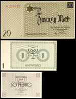 1139 Gettogeld Litzmannstadt, Serie Von 3 Banknoten In Den Wertstufen 50 Pfennig, 1 Mark Und 20 Mark, 15.5.1940, Der Ält - Banknotes