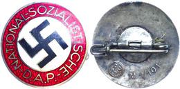1210 Nationalsozialistische Deutsche Arbeiterpartei (NSDAP), Mitgliedsabzeichen, Emailliert, 23 Mm, Mit RZM Stempel Und  - Army & War